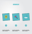 flat icons pin magnifier bathroom and other vector image