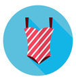 Flat Summer Swimsuit Circle Icon with Long Shadow vector image vector image