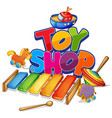 font design for word toy shop with many toys on vector image