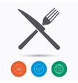 Fork and knife icons Cutlery sign vector image