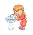 Girl brushing teeth happily