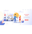 girl renting an electric beach car vector image vector image