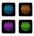 glowing neon project team base icon isolated on vector image