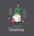 greeting card with christmas gnome christmas tree vector image vector image