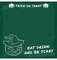 Halloween party green chalkboard menu vector image vector image