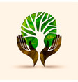 hand tree green nature people help vector image vector image