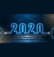 happy new 2020 year futuristic neon background vector image vector image