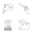 head of a horse a bull s head a revolver a vector image vector image