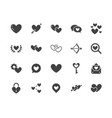 heart flat glyph icons set love dating site vector image