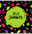 hello summer colorful background with fruits vector image