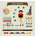 Hipster infographics elements set with geek boy vector image vector image