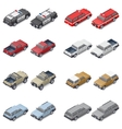 Isometric SUVs pickup trucks and service vector image vector image