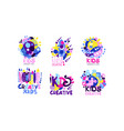kids creative labels collection children vector image vector image