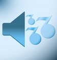 loud blue speaker with musical notes vector image