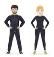 man and woman playing sport with black sportswear vector image vector image