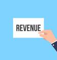 man showing paper revenue text vector image