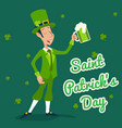 man with green beer saint patric day festival vector image