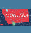 montana state detailed editable map vector image vector image