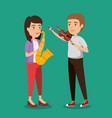 musician couple in concert vector image