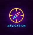 navigation neon label vector image vector image