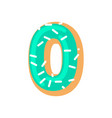 number 0 donut doughnut font zero sweet alphabet vector image