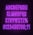 retro purple neon alphabet with numbers on brick vector image vector image