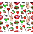 Seamless pattern with fashion patch badges vector image