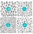 set letter y z numbers ampersand hand drawn vector image vector image