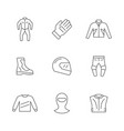 set line icons motorcycle clothes vector image vector image