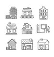 set of buildings icons and concepts in sketch vector image vector image