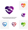 set of love care creative logo concepts heart vector image vector image