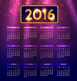 shiny colorful 2016 calender vector image vector image