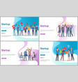 startup people with big letters conference set vector image vector image