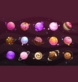 sweet world concept food planets on space vector image vector image