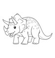 triceratops cartoon bw vector image vector image