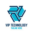 vip technology logo vector image vector image