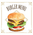 watercolor burger for menu design vector image