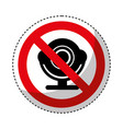 web camera with denied sign vector image vector image