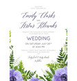 wedding floral violet anemones invite card design vector image