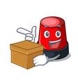 with box sirine character cartoon style vector image