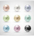 set of multicolored pearls vector image