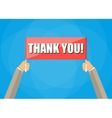 hands holding plate with words thank you vector image