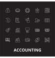 accounting editable line icons set on black vector image vector image
