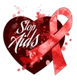 Aids day red ribbon grunge icon vector image