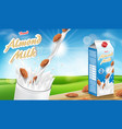 almond milk glass with splash on wooden table with vector image vector image