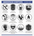 andropause symptoms set of icons vector image
