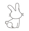 back view rabbit animal cartoon isolated icon line vector image vector image