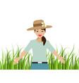 beautiful girl feeling happy on green grass vector image