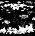 black and white seamless pattern with fish vector image vector image