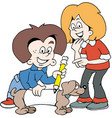 cartoon of two happy children with a family dog vector image vector image